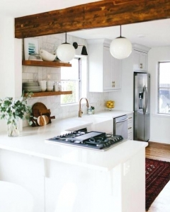 Wooden Beams 3 U Shaped Kitchen Design For Small House Tiny House