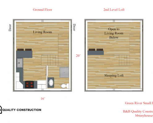 Green River Small Home Floor Plan Tiny House B&B Quality Construction